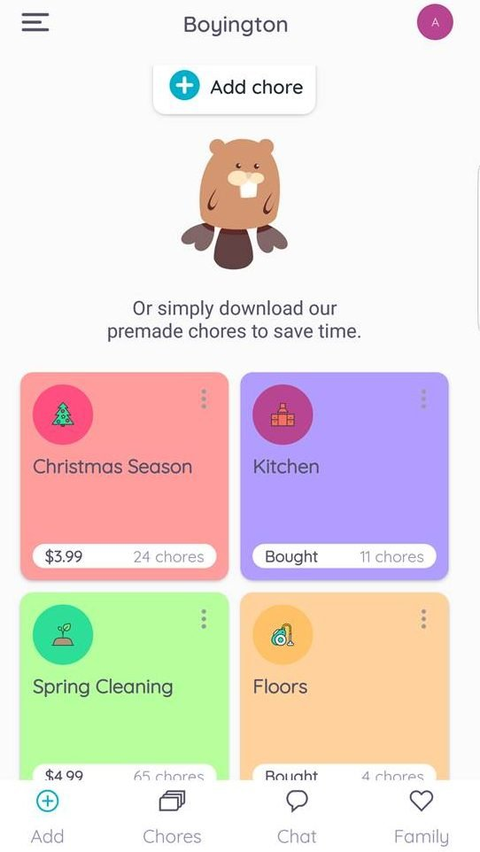 Homey has pre-made options for chores that let you add them quickly to your family's chore list and schedule.