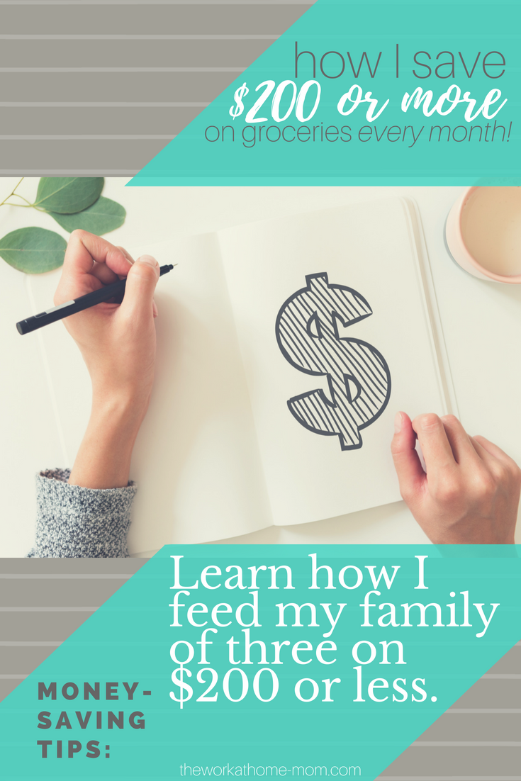 Learn how to save money on groceries with these simple tips that feed this family of 3 for $200 or less! #savvyshopping #savemoney #frugalgroceryshopping
