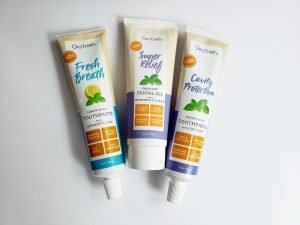 Oxyfresh toothpaste is gluten free, dye free, artificial flavor free, and SLS free for a cleaner mouth with safe ingredients.