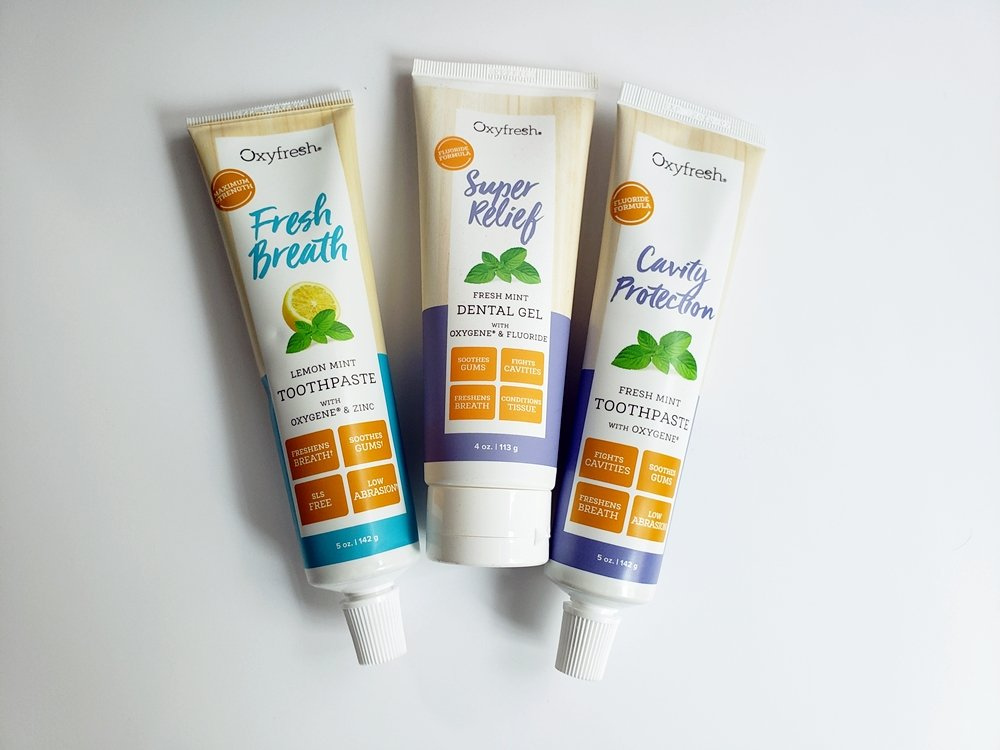 The importance of brushing teeth: Oxyfresh toothpaste is gluten free, dye free, artificial flavor free, and SLS free for a cleaner mouth with safe ingredients.